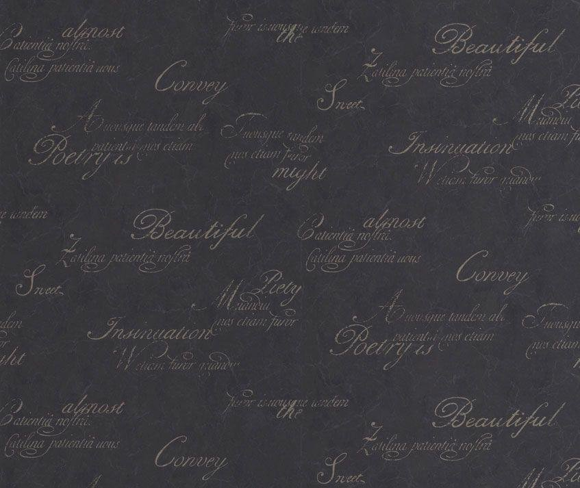 graham and brown wallpaper sample  script black.