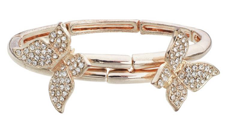 Revere 9ct Rose Gold Plated Crystal Butterfly Bangle