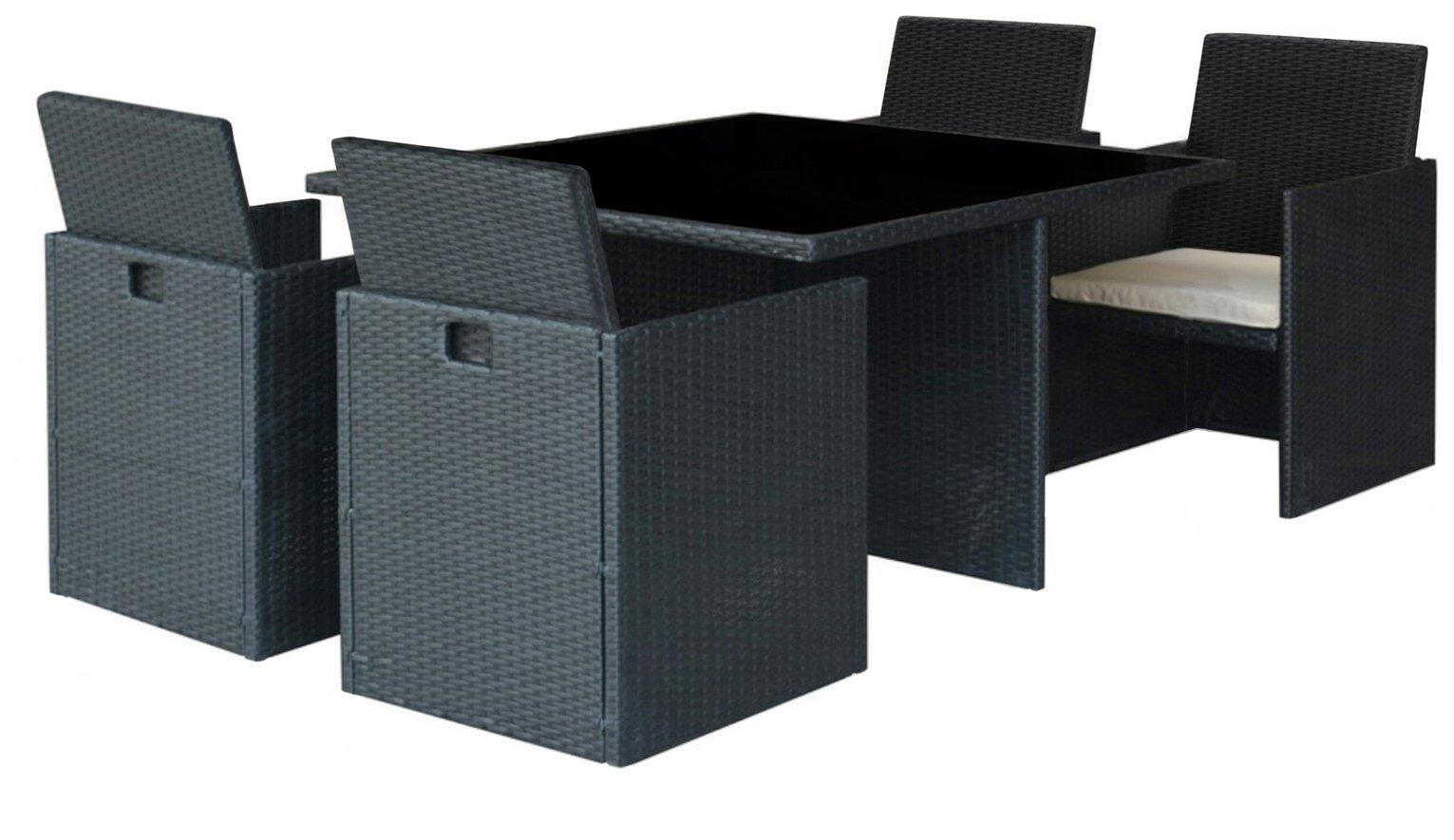 Cube Rattan Effect - 4 Seater Patio Set - Black