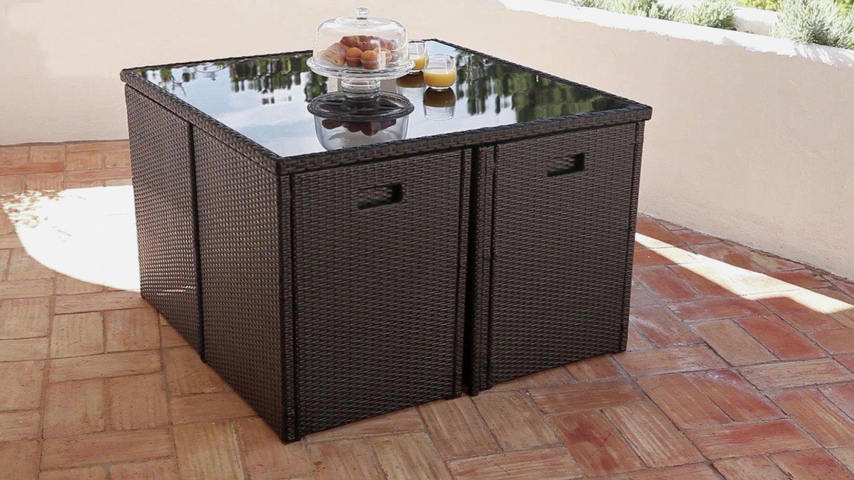 Cube Rattan Effect - 4 Seater Patio Set - Black lowest price