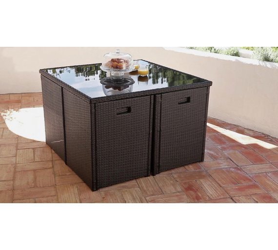buy cube rattan effect 4 seater patio set black at argoscouk your online shop for garden table and chair sets garden furniture home and garden