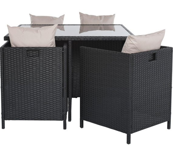 Click to zoom. Buy Cube Rattan Effect 4 Seater Patio Set   Black at Argos co uk
