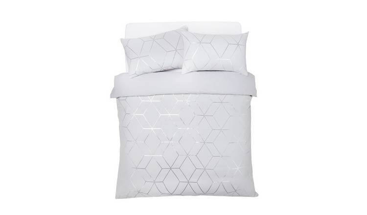 Argos Home Silver Jacquard Geo Bedding Set - Superking