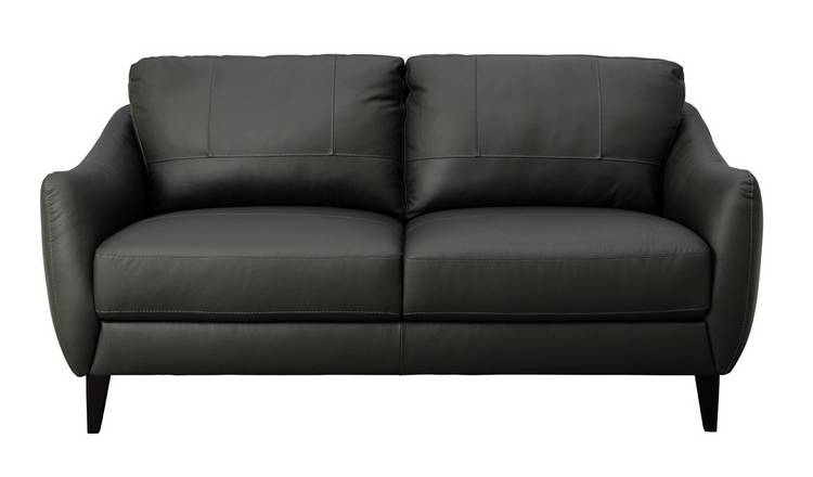 Argos Home Flynn 3 Seater Leather Mix Sofa - Charcoal