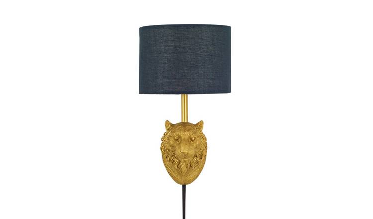 Argos Home Wilderness Tiger Plug In Wall Light - Gold