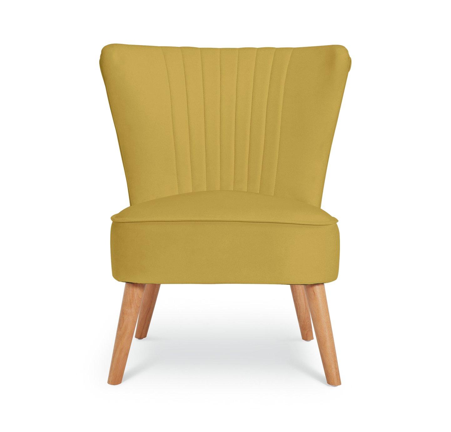 Argos Home Alana Velvet Shell Back Accent Chair - Yellow