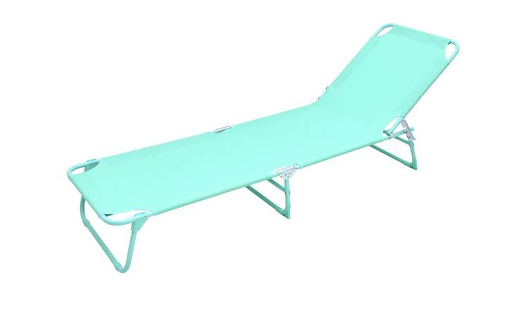 Argos Home Metal Folding Sun Lounger - Teal