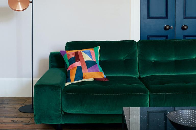 Habitat Hendricks 3 Seater Velvet Sofa - Emerald Green.