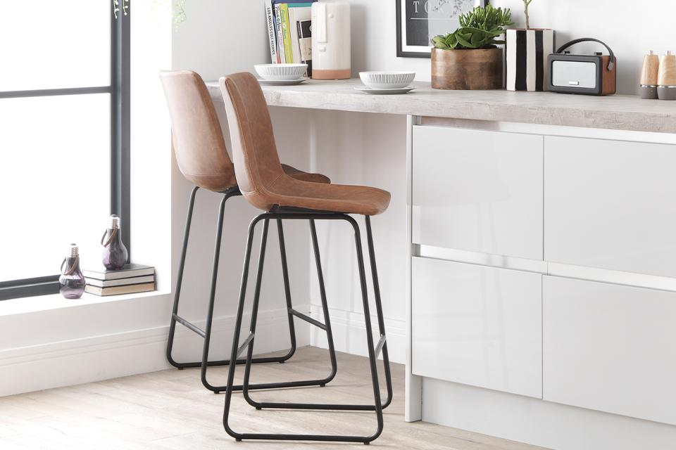 Argos Home Joey Faux Leather Bar Stool - Tan.