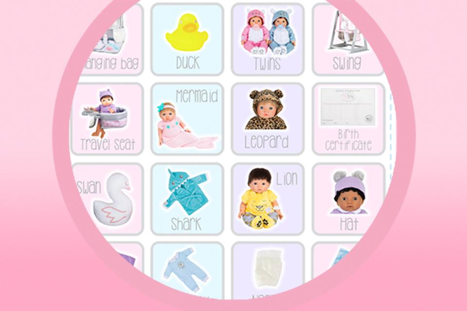 Image shows a printable board for baby bingo, with pictures of various Tiny Treasures dolls and outfits.