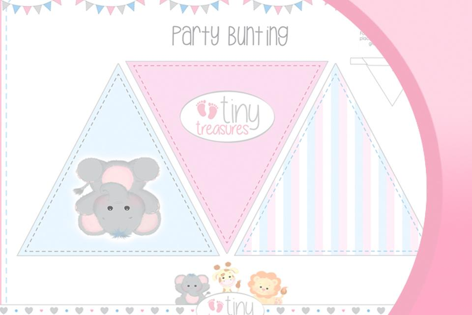 Image shows printable bunting in pastel blue and pink, set on a pink background.