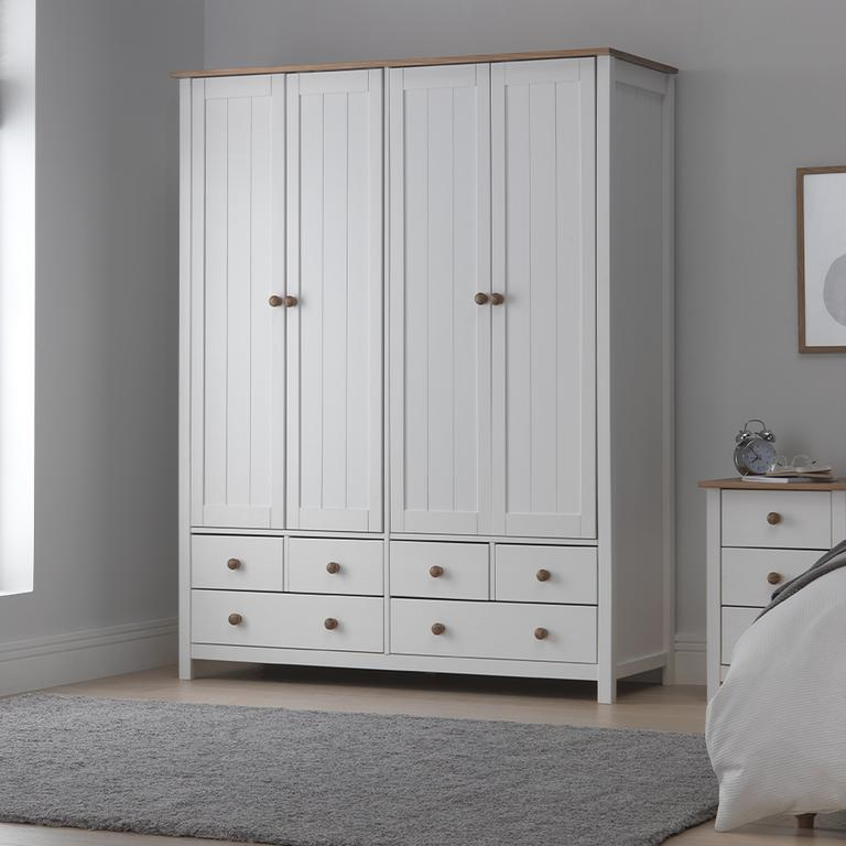 Scandinavia 4 door, 6 drawer wardrobe and bedside table.