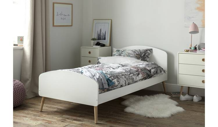 Argos Home Bodie Single Bed Frame and Kids Mattress - White