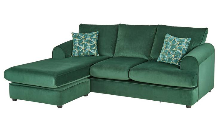 Argos Home Atticus Left Corner Velvet Chaise Sofa - Green