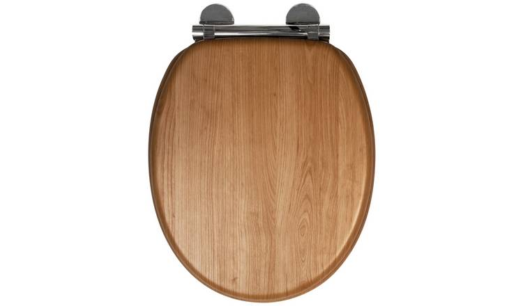 Croydex Moulded Wood Toilet Seat - Light Oak Effect
