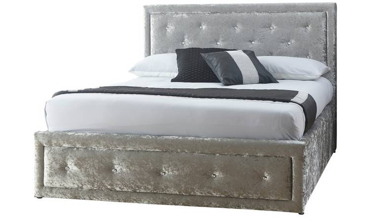 GFW Hollywood Crushed Velvet Ottoman King Bed Frame - Silver