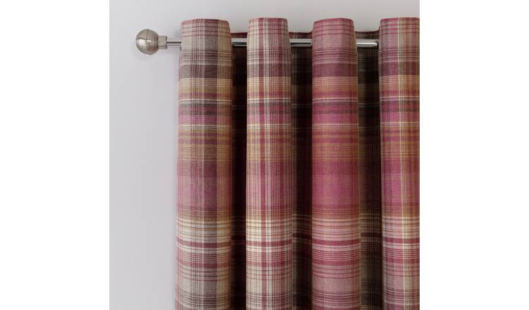 Argos Home Brush Check Fully Lined Eyelet Curtains - Purple