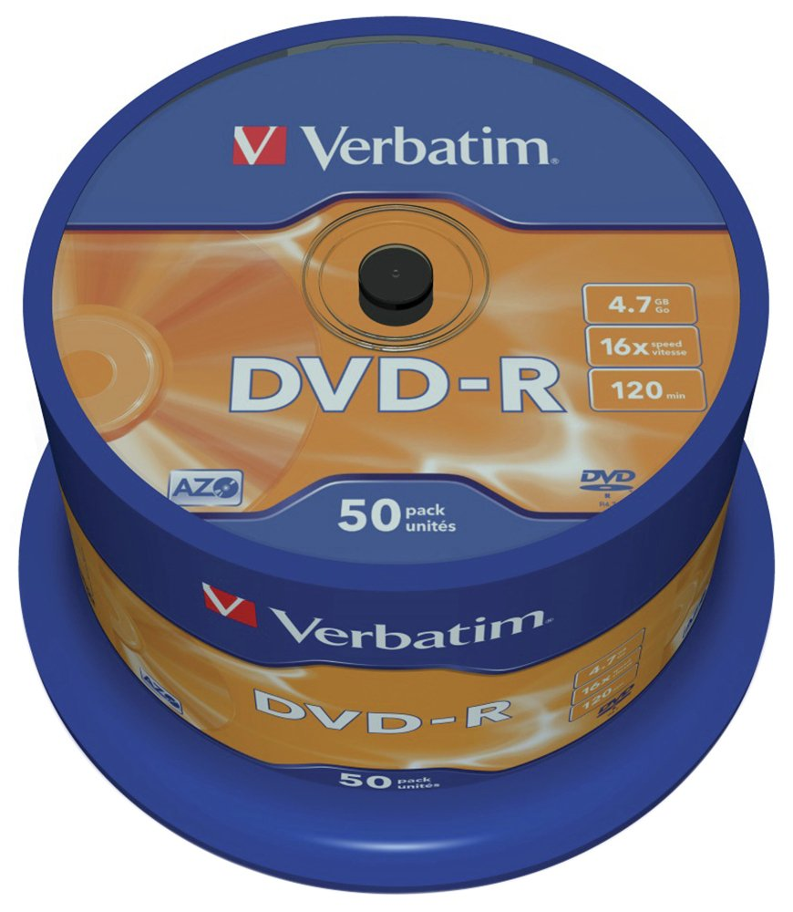 Verbatim DVD-R 16x Speed - 50 Pack Spindle