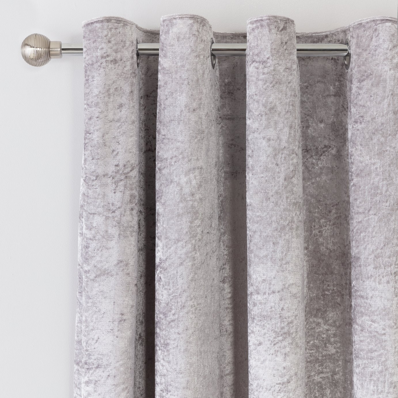 Argos Home Crushed Velvet Lined Eyelet Curtains - Grey