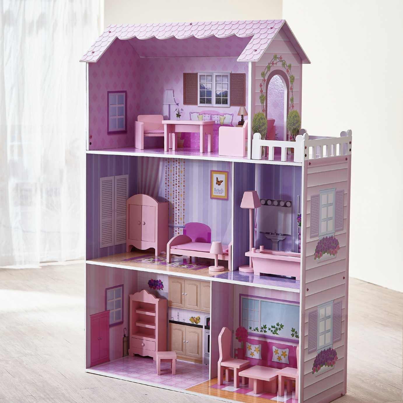 Teamson Kids Dreamland 12 inch Wooden Dolls House - Pink