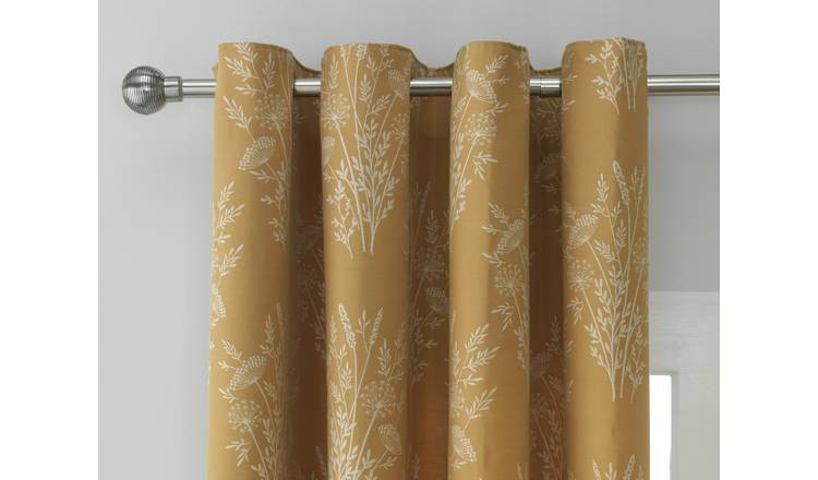 Argos Home Floral Jacquard Lined Eyelet Curtains - Mustard