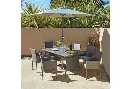 Image of a The Collection Havana Rattan Effect Grey 6 Seater Patio Set
