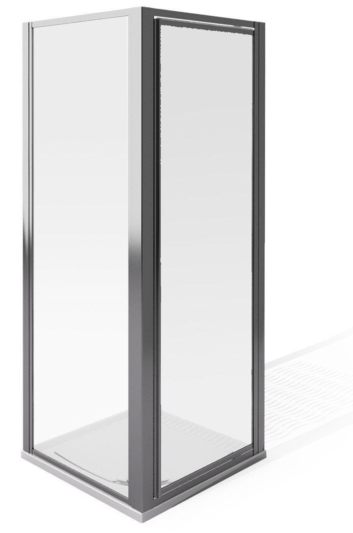 Image of AQUA 4 1850x760mm Pivot and Side Panel Enclosure - Silver