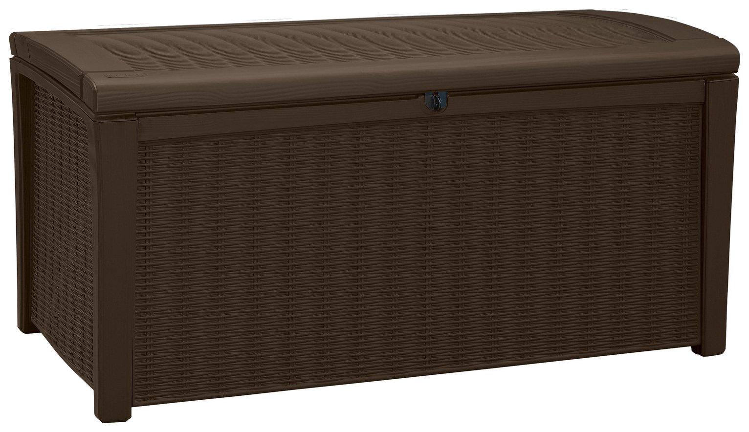 Keter Borneo Rattan Effect Garden Storage Box 416L - Brown