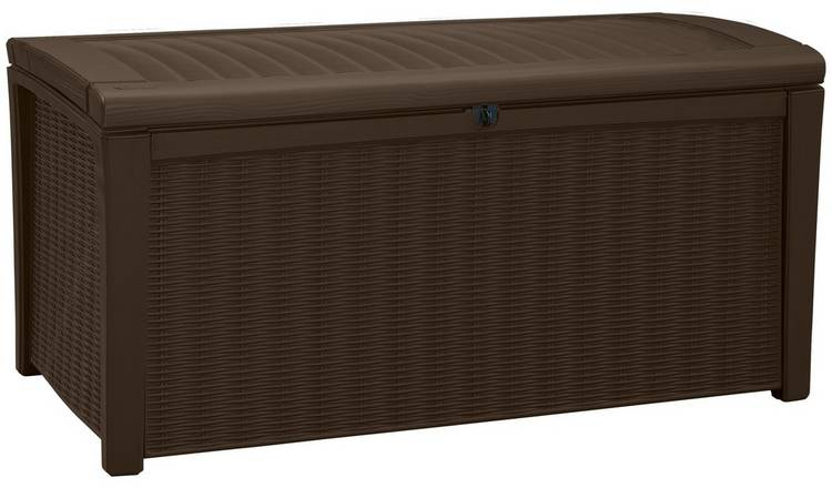 Keter Borneo 416L Rattan Effect Garden Storage Box - Brown