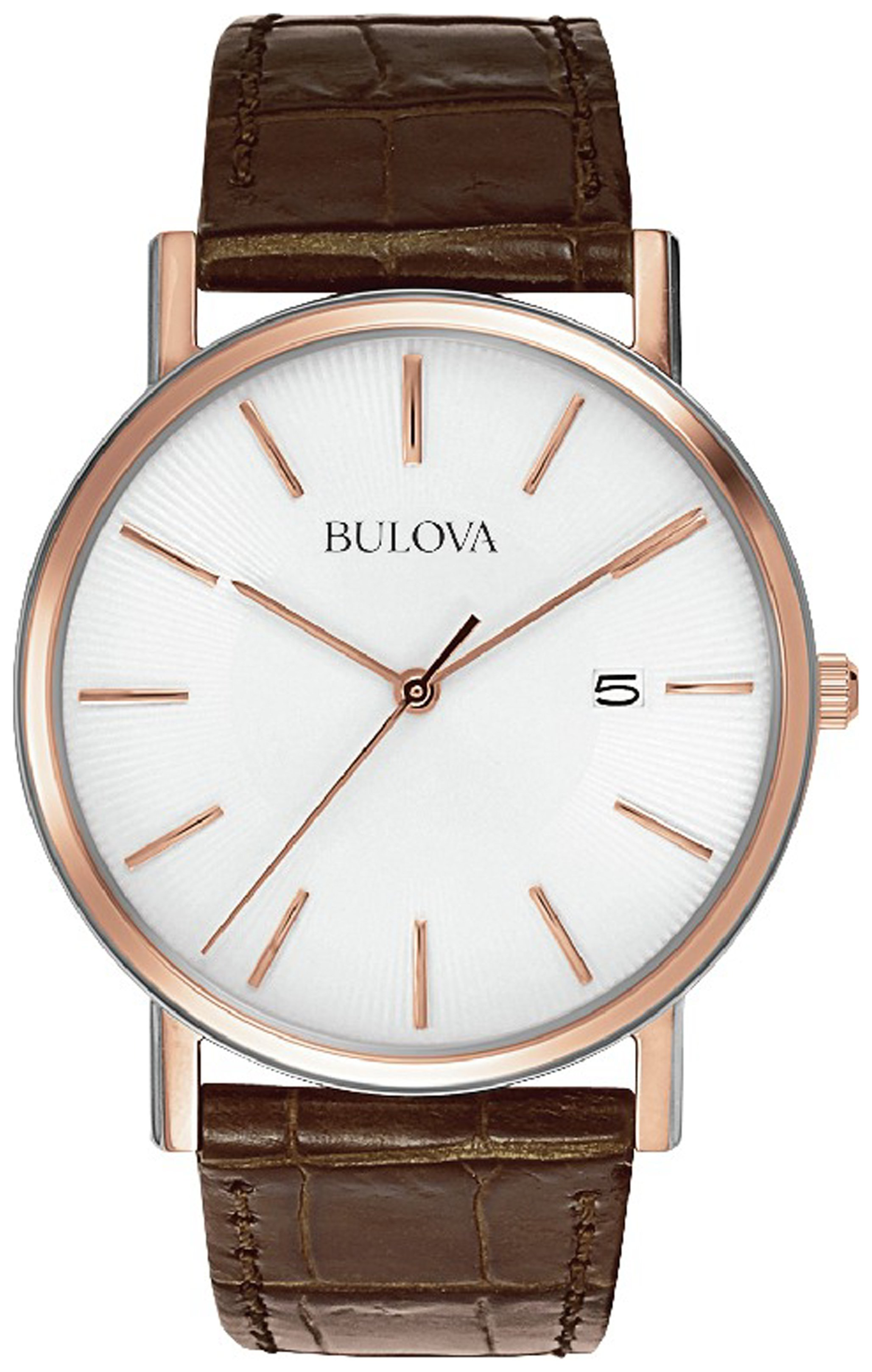 Image of Bulova - Mens Rose Steel Brown Leather Strap - Watch