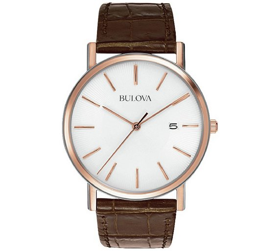 buy bulova men s rose steel brown leather strap watch at argos co play video