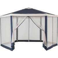 Hexagonal 4m Garden Gazebo with Mesh Panels (Blue & Cream)