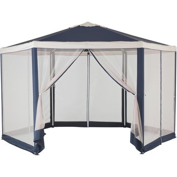 Hexagonal 4m Garden Gazebo with Mesh Panels