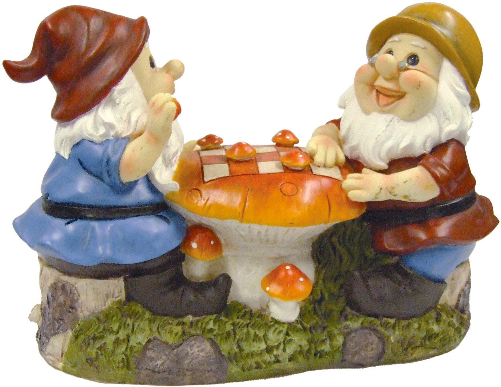 Chess Playing Gnome Garden Ornament.