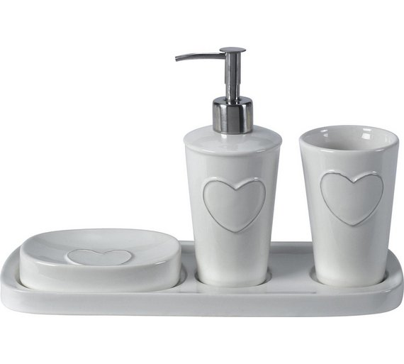 heart of house 3 piece ceramic heart bathroom set - White Bathroom Accessories Uk