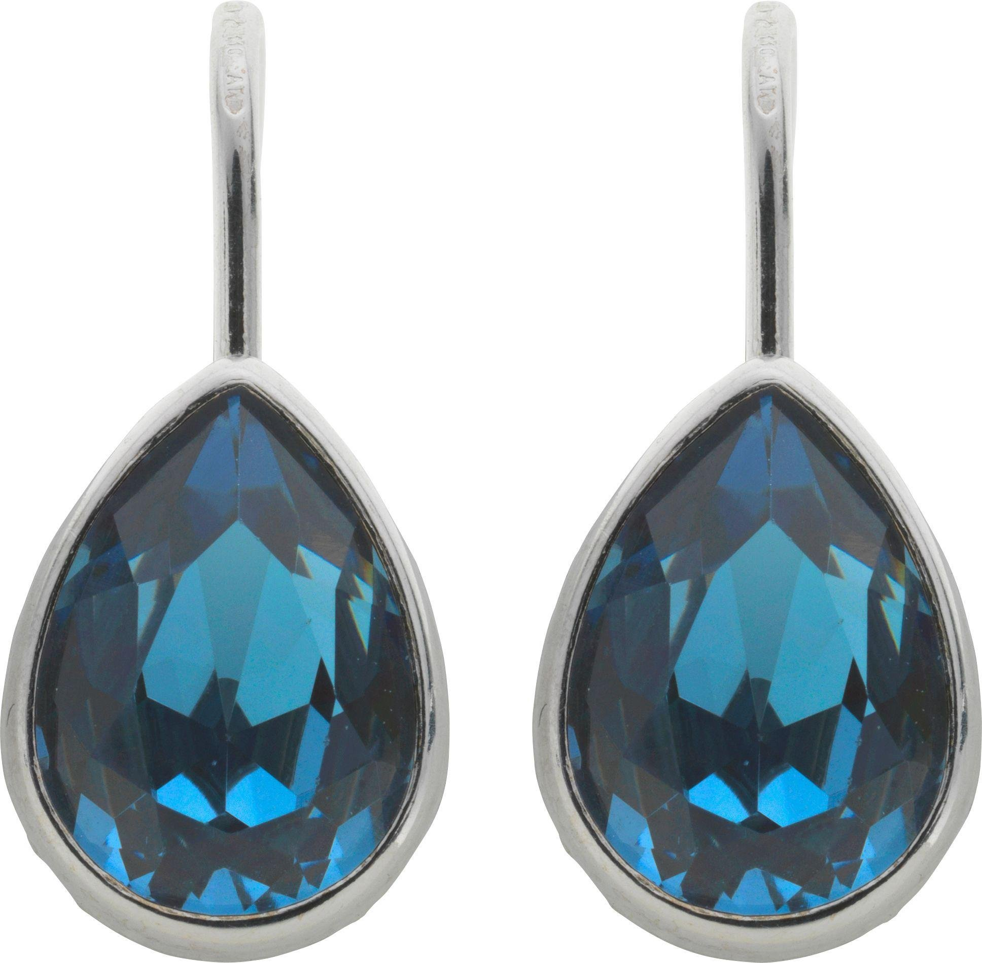 Image of Davvero - Sterling Silver - Blue Crystal - Drop Earrings.