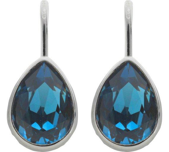 Buy Revere Sterling Silver Blue Swarovski Crystal Drop Earrings ... cb0c83f42e