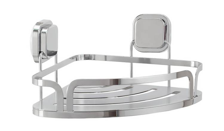 Argos Home Flat Plate Suction Corner Shelf - Chrome