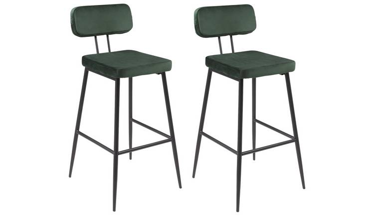 Argos Home Beatrice Pair of Velvet Bar Stools - Green