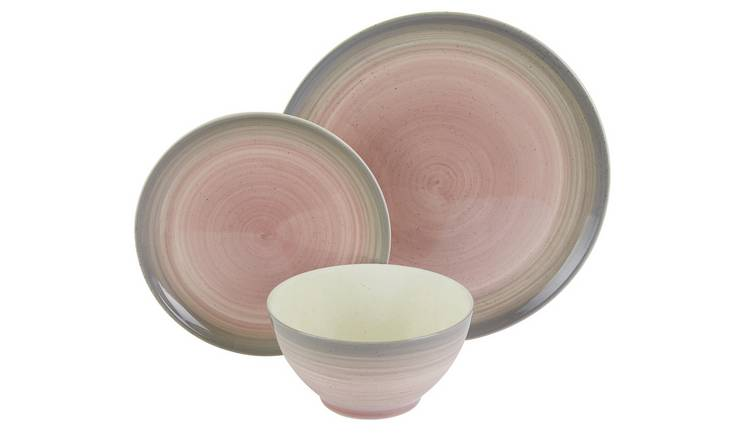 Habitat Atkinson 12 Piece Dinner Set - Pink & Grey
