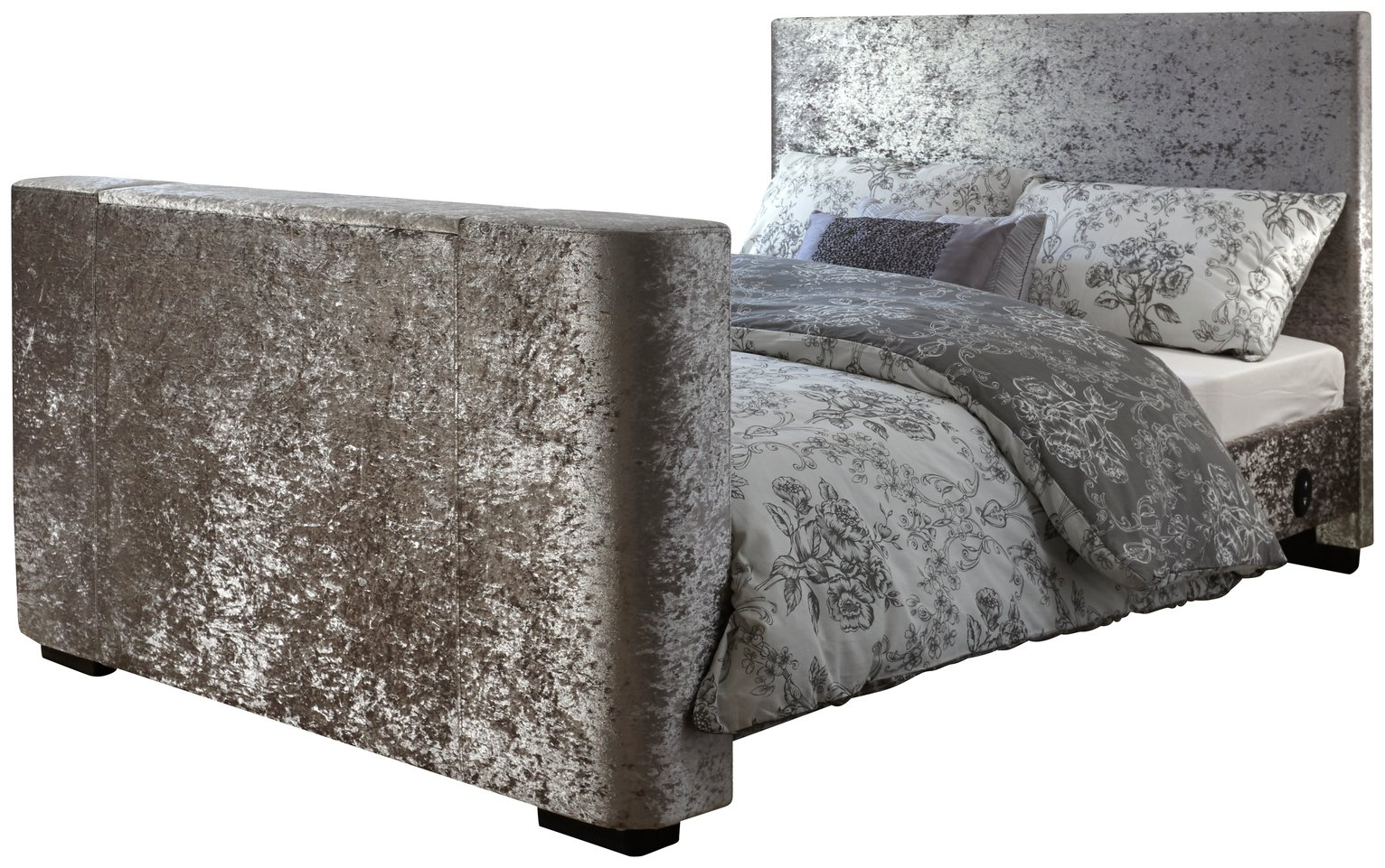 GFW Newark Crushed Velvet Double TV Bed Frame - Silver
