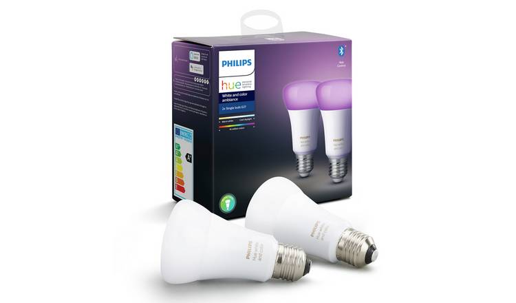 Philips Hue E27 Colour Ambiance Smart Bulbs with Bluetooth