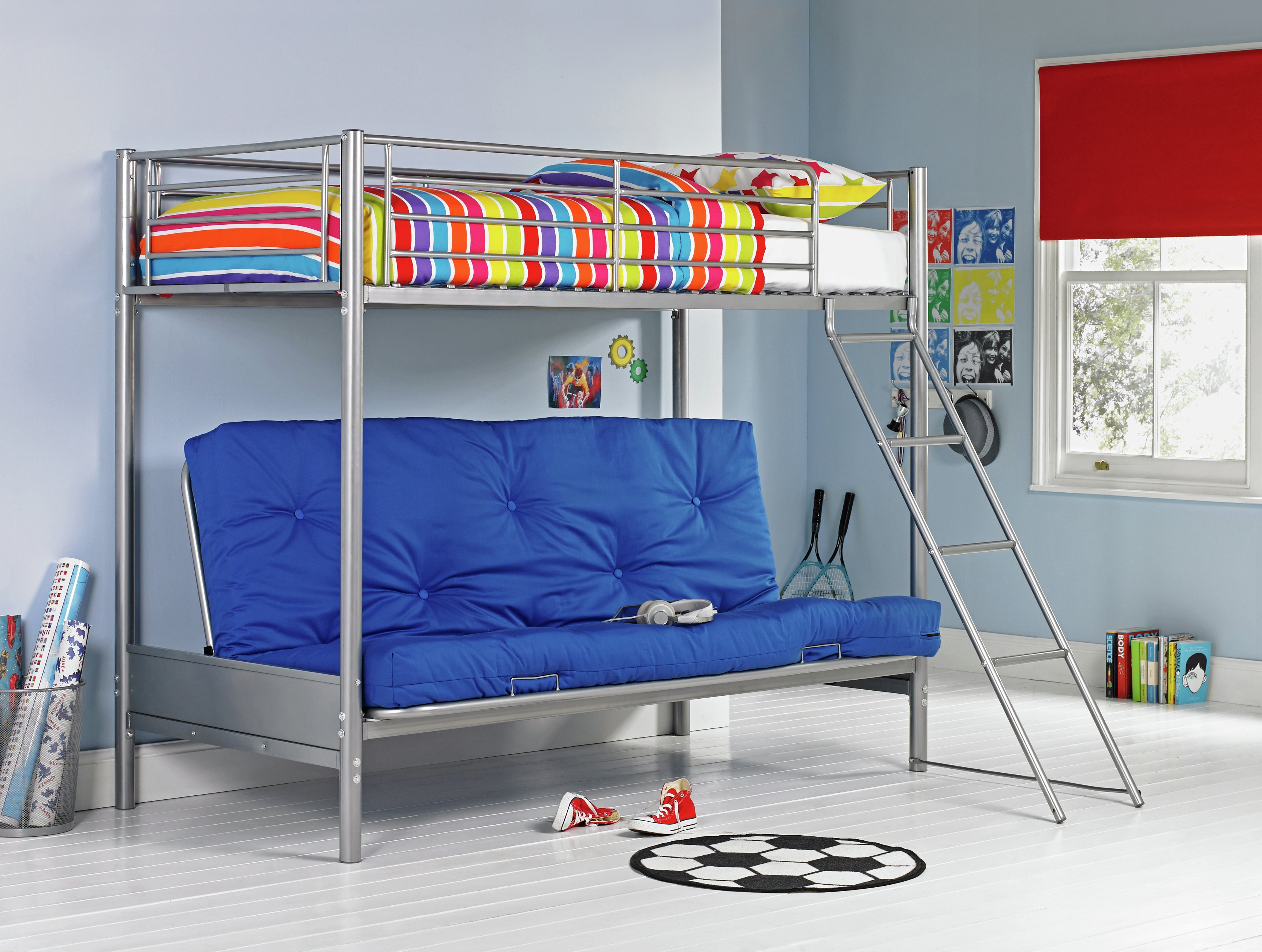 Image of Metal Bunk Bed & Futon with Ashley Mattress - Silver & Blue