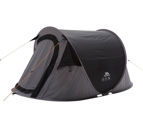 factory price 58803 d48ab Details about Trespass 2 Man 1 Room Festival Pop Up Tent Black Perfect For  Summer Festivals