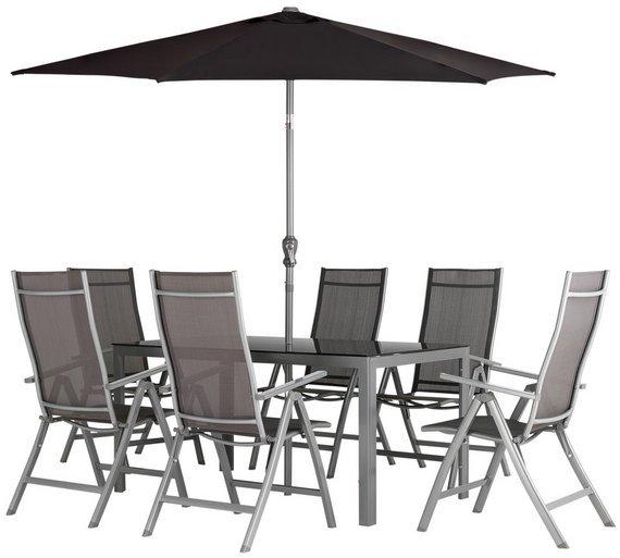 collection malibu 6 seater steel patio set black