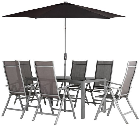 buy collection malibu 6 seater steel patio set black at argoscouk your online shop for garden table and chair sets garden furniture home and garden