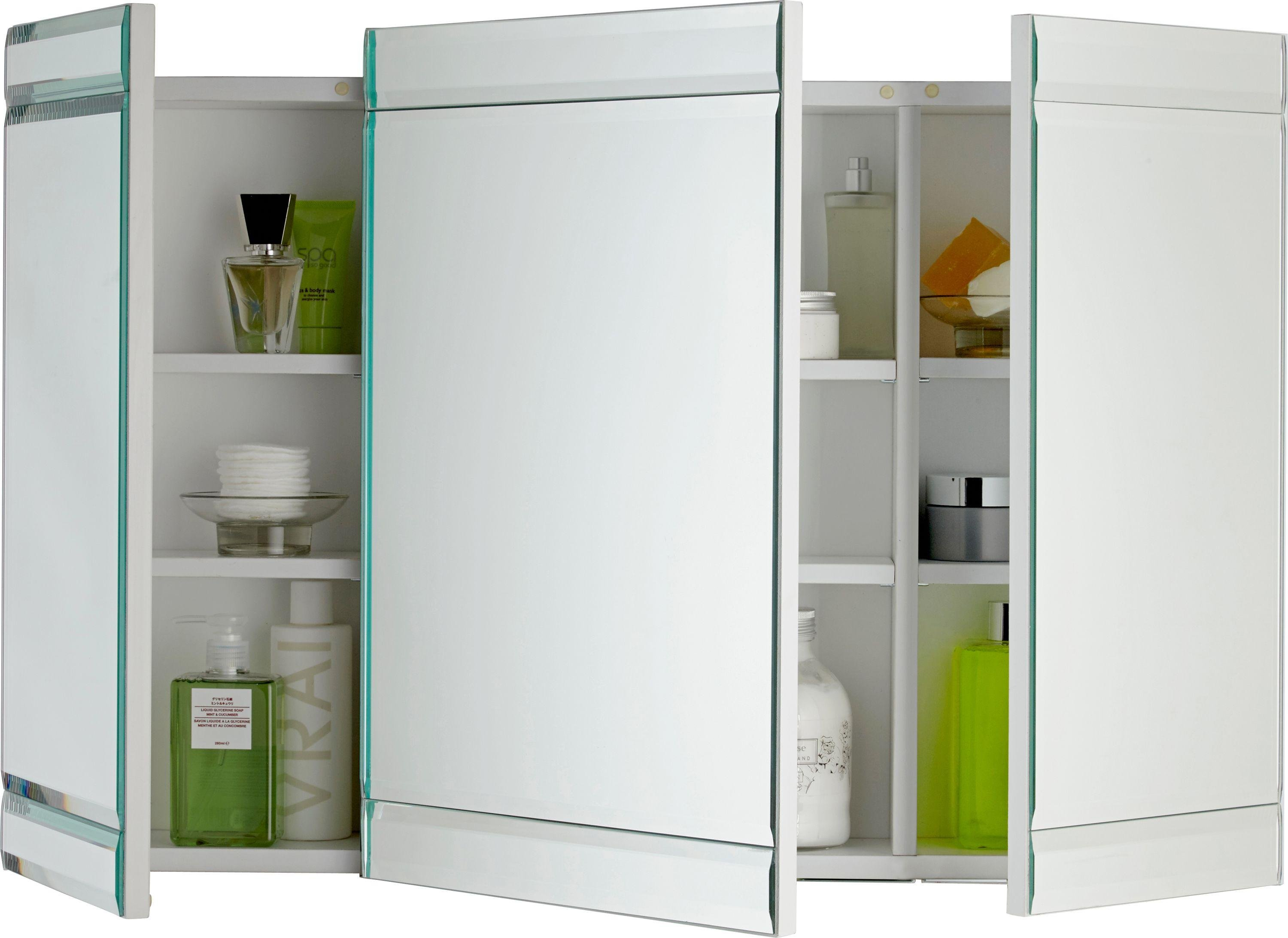 Mirrored Wall Cabinet buy heart of house triple mirrored wall cabinet - white at argos