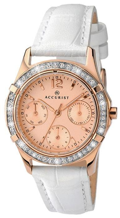 Image of Accurist - Ladies Rose Gold Dial and White Strap - Watch