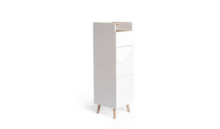 Habitat Skandi 5 Drawer Tallboy - White Two Tone
