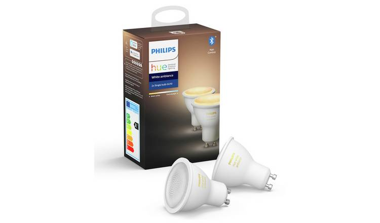 Philips Hue GU10 White Smart Bulb with Bluetooth -2 Pack